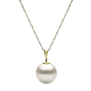 DaVonna 14k Yellow Gold White 10-11 mm Round Freshwater High Luster Pearl Pendant Necklace with Gift Box