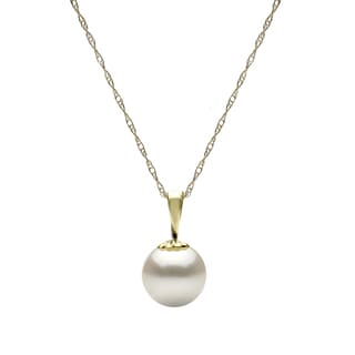 DaVonna 14k Yellow Gold White 8-9 mm Round Freshwater High Luster Pearl Pendant Necklace with Gift Box