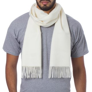 Handcrafted Men's Alpaca Wool 'Frothy White' Scarf (Peru)