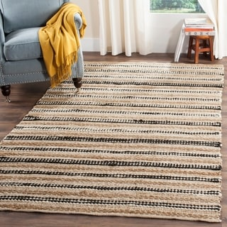 Safavieh Hand-Woven Cape Cod Natural/ Black Cotton/ Jute Rug (5' x 8')