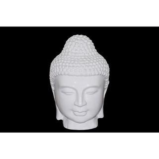 Gloss Finish White Ceramic Buddha Head with Beaded Ushnisha