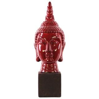 Large Glossy Red Ceramic Buddha Head with pointed Ushnisha on Square Base