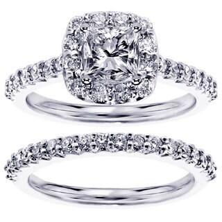 14k or 18k White Gold 1 1/2ct TDW Halo Princess-cut Diamond Engagement Bridal Set
