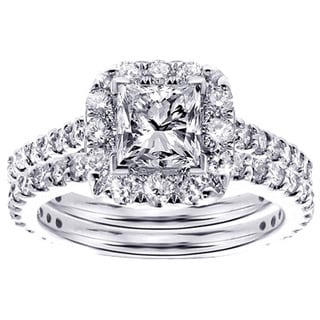 Platinum 2 1/3ct TDW Halo Princess-cut Diamond Engagement Bridal Set