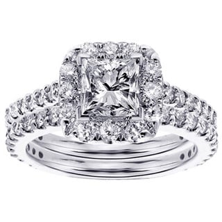 14k or 18k White Gold 2 1/3ct TDW Halo Princess-cut Diamond Engagement Bridal Set