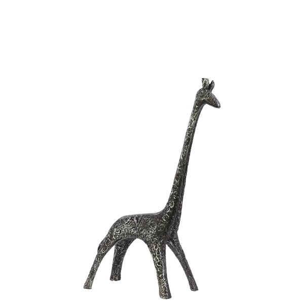 Hammered Metallic Black Resin Giraffe Figurine