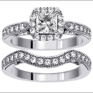 White Gold 1 7/8ct TDW Halo Princess-cut Diamond Engagement Bridal Set