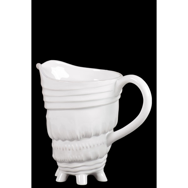 Gloss Finish White Ceramic Conch Seashell Pitcher with Handle 18028903