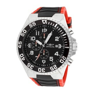 Invicta Men's Pro Diver Chronograph Black Dial Black and Red Polyurethane Watch