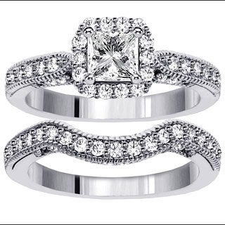 Platinum 1 7/8ct TDW Halo Princess-cut Diamond Engagement Bridal Set