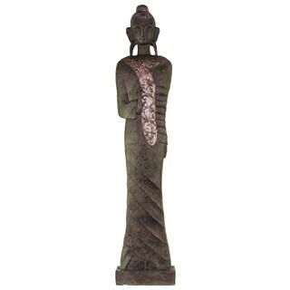 Resin Standing Buddha Figurine with Rounded Ushnisha in Abhaya Mudra on Platform Large Antique Finish Dark Bronze
