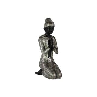 Resin Kneeling Buddha Figurine in Anjali Mudra Painted Finish Silver