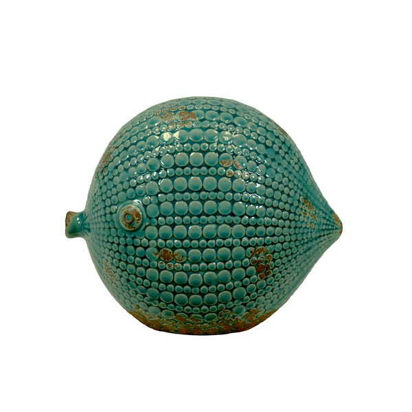 Ceramic Round Fish Figurine Large Distressed Gloss Finish Teal
