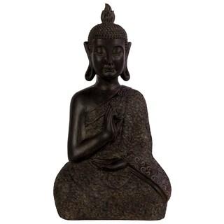 Resin Buddha Figurine with Pointed Ushnisha in Abhaya Mudra Matte Finish Dark Espresso Brown