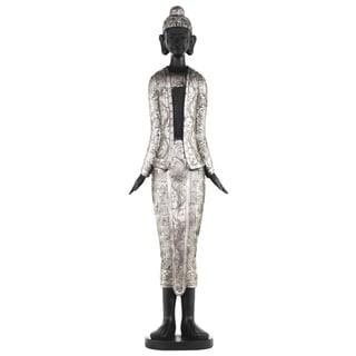 Antique Silver Finish Resin Standing Buddha Figurine with Rounded Ushnisha on Base