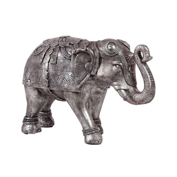 Large Brushed Metallic Silver Finish Resin Walking Trumpeting Indian Elephant Figurine with Engraved Design