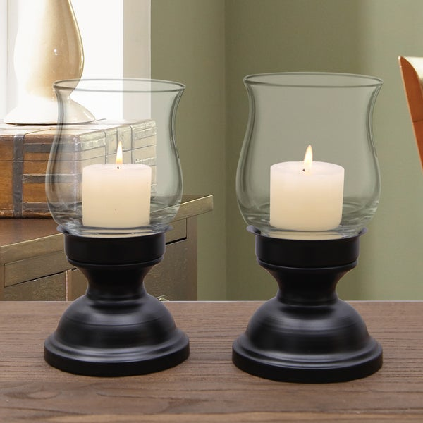 Adeco Metal Candle Holder Stand With Glass, Set of Two