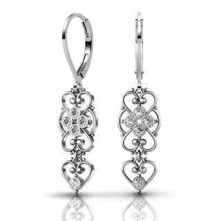 Lucia Costin Sterling Silver Clear Crystal Earrings with Cute Heart
