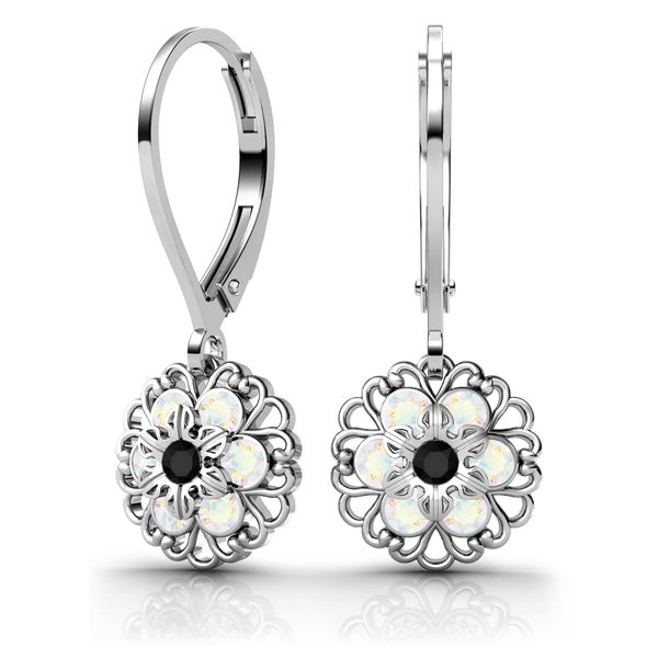 Lucia Costin Sterling Silver Black/  White Crystal Earrings with Delicate Flower 18029269