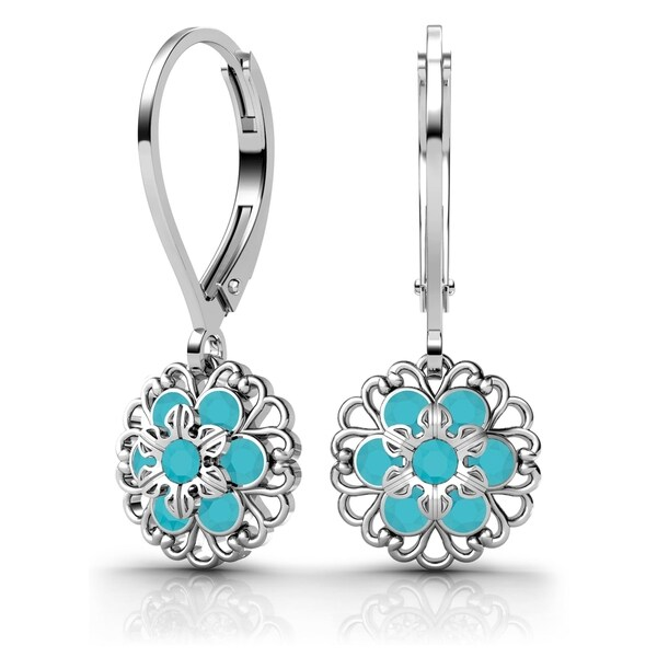 Lucia Costin Sterling Silver Turquoise Crystal Earrings 18029298