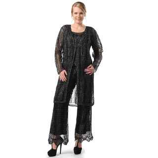 Soulmates Women's 3-piece Wide Leg Black Pants Set