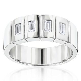 Luxurman 14k Gold Men's 7/8ct TDW Diamond Wedding Band (H-I, SI1-SI2)