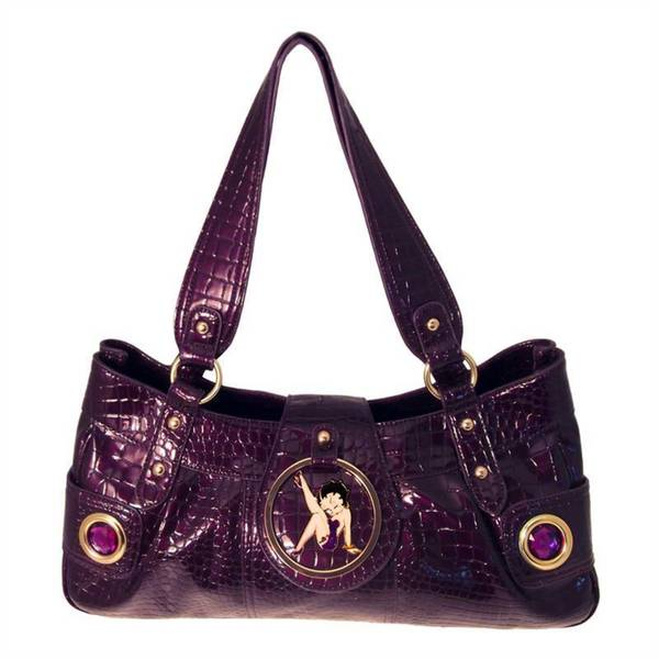 Betty Boop Purple Faux Textured Leather Long Handbag