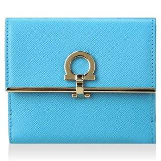 Salvatore Ferragamo French Icona Sky Blue Leather Wallet