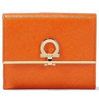 Salvatore Ferragamo French Icona Orange Leather Wallet
