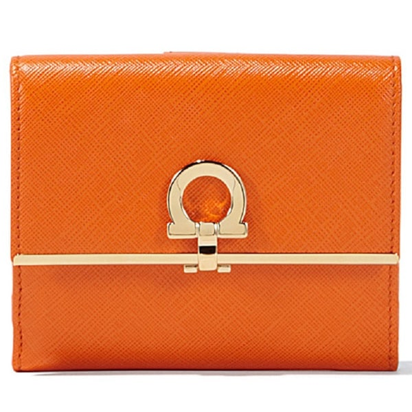 Salvatore Ferragamo French Icona Orange Leather Wallet