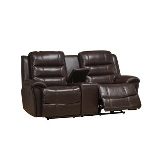 Astoria Brown Leather Power Recliner Loveseat with Center Console and Cupholders