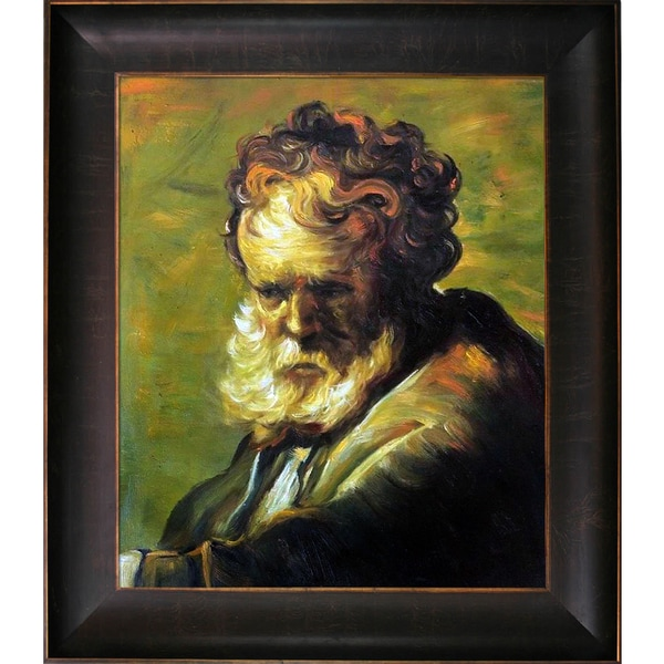 Rembrandt 'A Bust of an Old Man' Hand Painted Framed Canvas Art