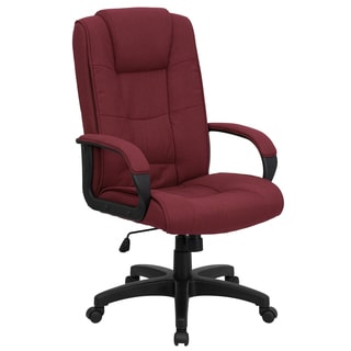 Garav Burgundy Fabric Executive Swivel Adjustable Office Chair