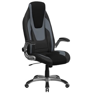 Kist Black and Grey Leatherette Executive Adjustable Swivel Office Chair with Black Mesh Insets