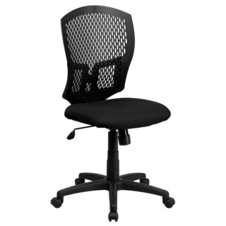 Perforated Back Design Swivel Adjustable Armless Black Office Chair with Padded Fabric Seat