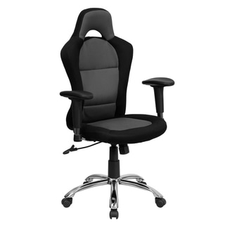 Race Car Design Swivel Adjustable Office Chair Upholstered in Grey and Black Mesh Fabric
