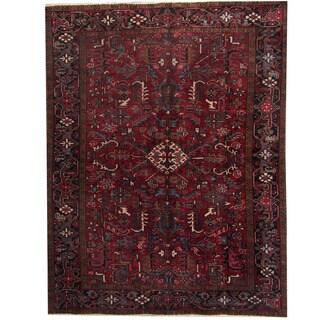 Herat Oriental Persian Hand-knotted 1940s Semi-antique Heriz Red/ Dark Navy Wool Rug (7'5 x 9'6)