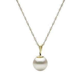 DaVonna 14k Yellow Gold White 9-10 mm Round Freshwater High Luster Pearl Pendant Necklace with Gift Box