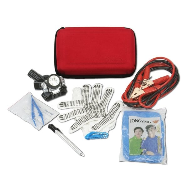 Car Emergency Roadside Assistance Kit with Tools and Jumper Cables
