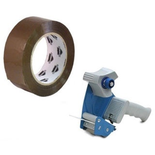 6 Rolls 2-inch x 110 Yardss Tan Packing Tapes 2.3 Mil with Free 2-inch Tape Gun Dispenser