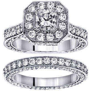 14k or 18k White Gold 4 1/2ct TDW Princess-cut Engagement Bridal Set