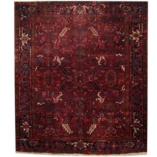 Herat Oriental Persian Hand-knotted 1940s Semi-antique Heriz Red/ Black Wool Rug (7'9 x 9')