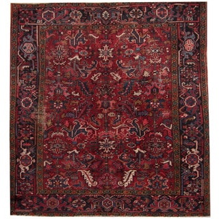 Herat Oriental Persian Hand-knotted 1940s Semi-antique Heriz Red/ Black Wool Rug (8' x 7'5)