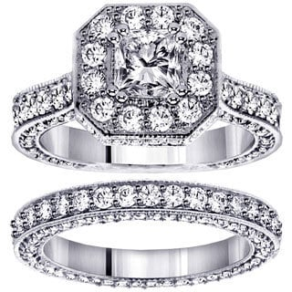 Platinum 4 1/2ct TDW Princess-cut Engagement Bridal Set