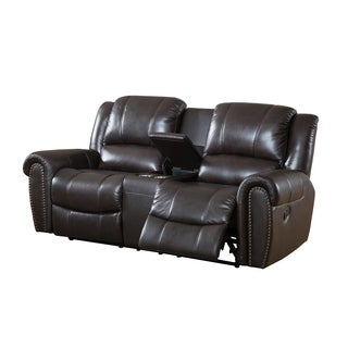 Charlotte Brown Leather Recliner Loveseat with USB Port