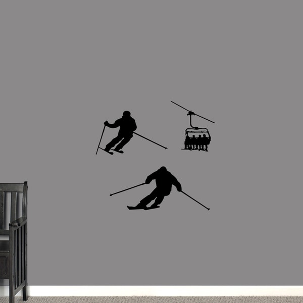 Skiing Small Wall Decal Set