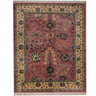 Herat Oriental Indo Hand-knotted Tibetan Salmon/ Beige Wool Rug (7'9 x 9')