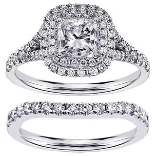 14k or 18k White Gold 1 7/8ct TDW Micro Pave Set Princess-cut Halo Engagement Bridal Set