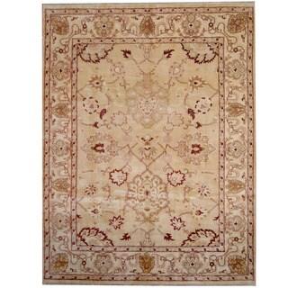 Herat Oriental Indo Hand-knotted Vegeatble Dye Oushak Gold/ Ivory Wool Rug (9' x 12'1)