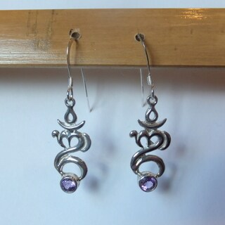 Amethyst Om With Love Earrings (Bali)